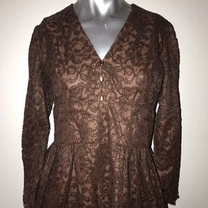 30s Brown Lined Lace Empire Cut Dress small